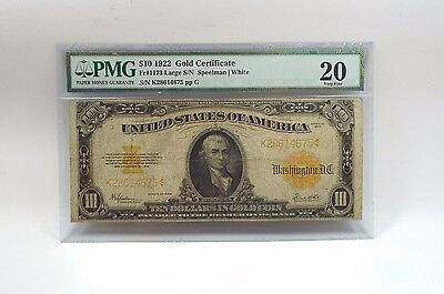 Series of 1922 Large Size $10 Gold Certificate PMG 20 Very FINE Fr#1173