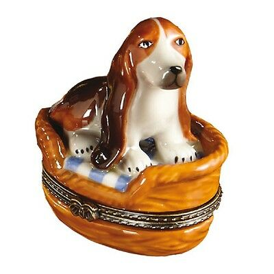 Porcelain BASSET HOUND IN DOG BED BASKET Trinket Box  Hinged Lid New! REG $50