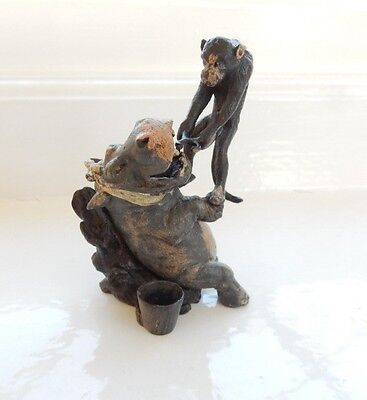 Vienna Cold Painted Bronze Hippo Having Tooth Removed by Monkey Bergman