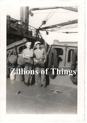Original WWII Vet's Photo Two Sailors  on USS Karnes APA-175
