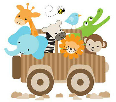 Safari Baby Nursery Decor Jungle Animal Jeep Mural Decals Boy Wall Art Stickers