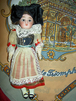 Antique cabinet size sgnd LIMOGES, FRANCE bisque doll, pierced ears, glass eyes