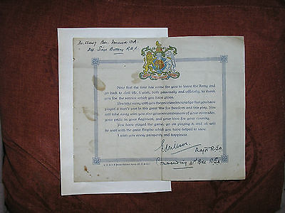 World War One Certificate Of Gratitude On Leaving The Army 56447 Forwood W W 1