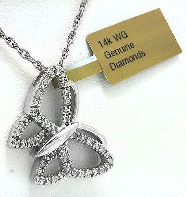 GENUINE 0.36 carats  DIAMONDS BUTTERFLY PENDANT 14K GOLD *Price Reduced*
