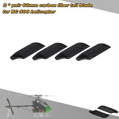 2 *Pairs Carbon Fiber 68mm Tail Blades for Align Trex 500 RC Helicopter US S4Y5