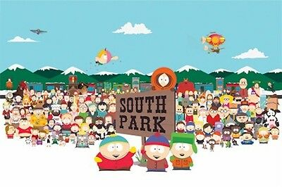 SOUTH PARK ~ SKYLINE CAST 24x36 CARTOON POSTER Matt Parker Trey Stone Southpark