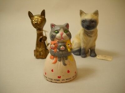 VINTAGE Bells SET OF 3 1 SIAMESE CAT 1 Mom Cat with Babies 1 BRASS CAT INDIA