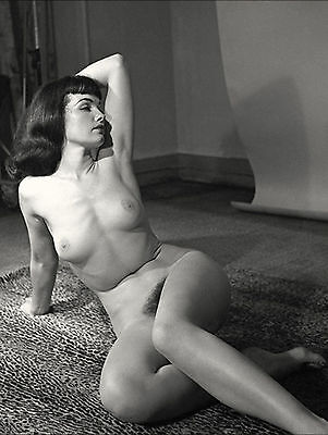 1960s Bettie Page Posing nude on a Leopard Rug 8 x 10 Photograph