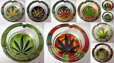 Glass Ashtray Gift Decorative Thick Herb Leaf Theme Collectable Smokers Gift x 1