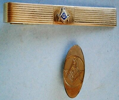 Vintage Gold Filled Masonic Tie Clip and a Masonic Lapel Clip