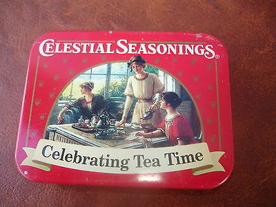 Celestial Seasonings Celebrating Tea Time Vintage Logo Box Metal Small Box .