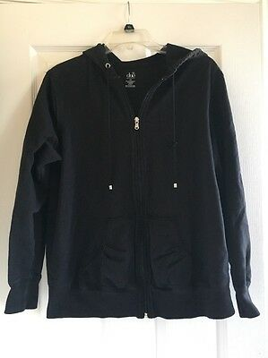 Duo Maternity Black Zip Up Hoodie Size Large
