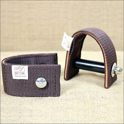 TOUGH-1 BROWN DURABLE NYLON AND LEATHER 3 inch SADDLE STIRRUP TURNER STRAP
