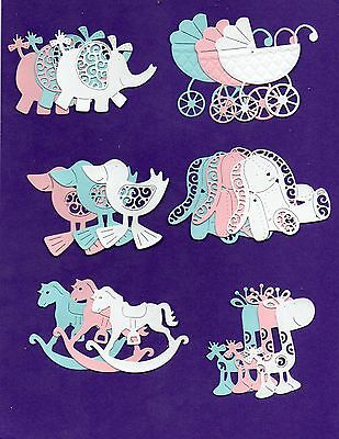 Tattered Lace  Die Cut  Baby Toppers- Duck, Rabbit, Elephant, Pram,horse Giraffe