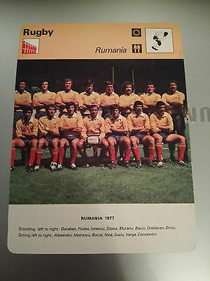 RUGBY UNION - ROMANIA 1977 - Sportscaster Photo Fact Card