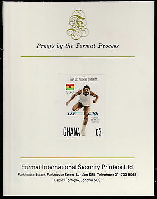 Ghana (1563) - 1984 Olympics 3c imperf on Format International PROOF  CARD