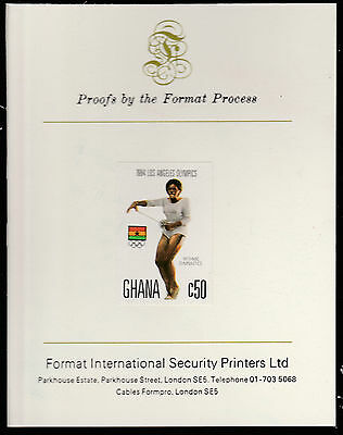Ghana (1564) - 1984 Olympics 50c imperf on Format International PROOF  CARD