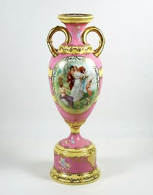 Vintage Porcelain Urn Vase Sevres Style Figural Cartouche Pink and Yellow 12""
