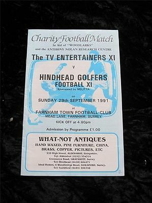 CHARITY FOOTBALL PROGRAMME TV Entertainers XI v Hindhead Golfers 1991