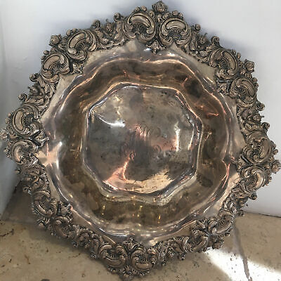 Large Antique Art Nouveau Sterling Silver Bowl by A Stowell &  Co.