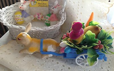 Vintage EASTER DECORATIONS Tabletop, Mini Bunnies, Plastic Easter Bunny Cake