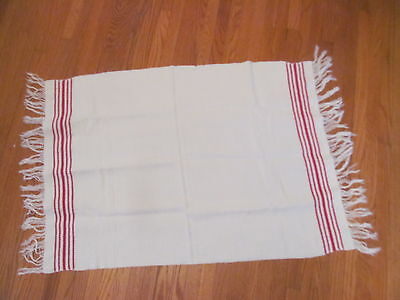 Vintage White Huck Towel w/Fringe~Red Swedish Embroidery~Or Use as a Runner!