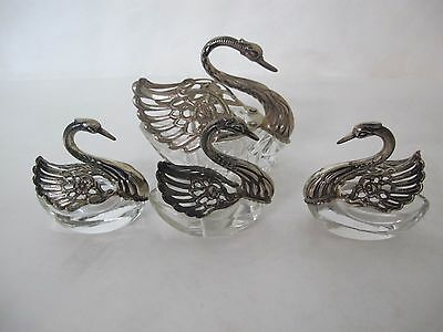 Magnificent German Sterling And Crystal 4 Piece Salts Set
