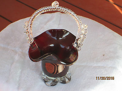 .Ruby  Red Art Glass Basket Vase with THORN  Handle