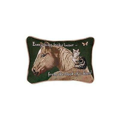 Everything Looks Better Horse Cat Decorative Tapestry Pillow New