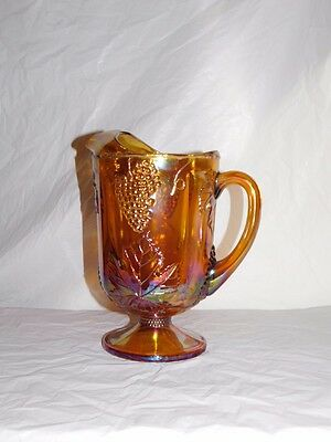 amber harvest Indiana vintage carnival glass pitcher iridescent glassware gold