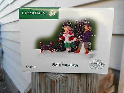 DEPT 56 DICKENS' VILLAGE Accessory PLAYING WITH A PUPPY NIB
