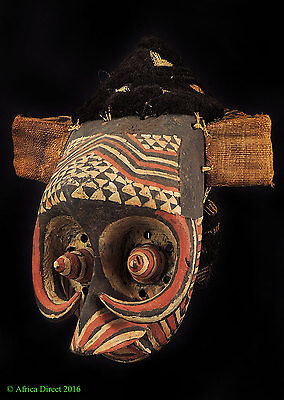 Kuba Pwoom Itok Mask with Raffia Headdress Congo African Art