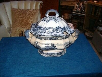 Early Pottery Transfer Soup Tureen Vintage Antique Large