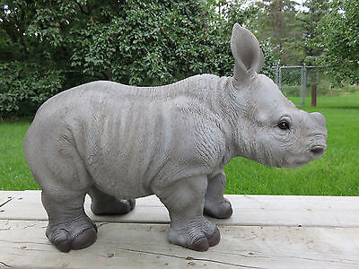 Rhinoceros Baby Standing Figurine Resin African Wild Animal Statue New