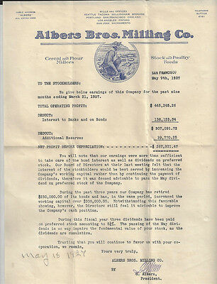 Vtg 1927 Albers Bros Milling Co Ad Letter. San Francisco Ca. Flour Feed Millers