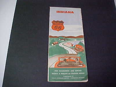 1940's INDIANA Road Map Phillips 66 Oil Company