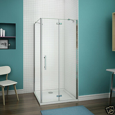 Aica Frameless Pivot Hinge Shower Enclosure and Tray Glass Corner Cubicle Door