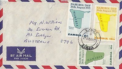 Stamps Zambia 1975 Namibia Day set of 3 on cover sent 1975 KABWE to Australia