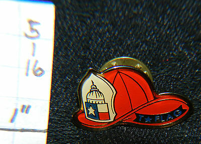 Texas Firefighters Red Hat Flag Fire Metal Pin