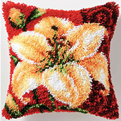 Tiger Lily Latch Hook cushion front kit by Vervaco 40x40cm Inc Tool