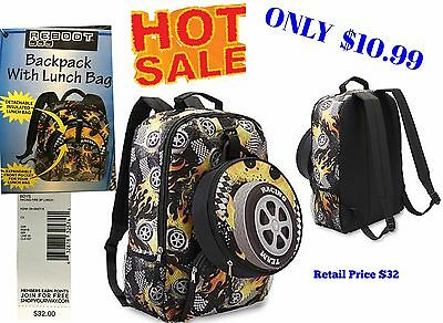 Boy's School Backpack & Lunch Bag Box Set - Reboot Racing Kids School Bag NWT