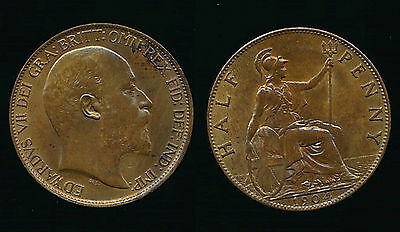 1904 EDWARD VII...Halfpenny (1/2 Penny)...UNC Lustre...Fast Post