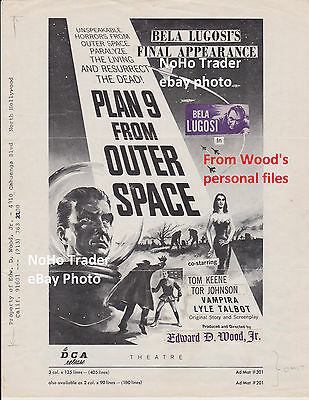 Ed Wood Plan 9 From Outer Space Pressbook Bela Lugosi Vampira Added Paste-Ups