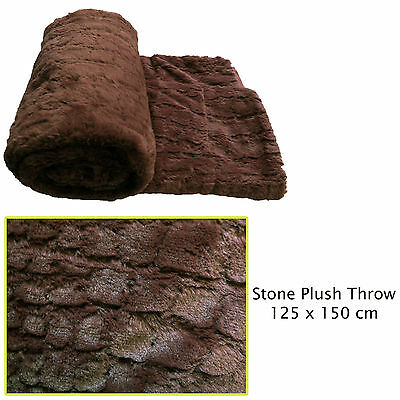 Stone Chocolate Faux Fur Plush Sofa Lounge Bed Throw Blanket Rug 125 x 150cm