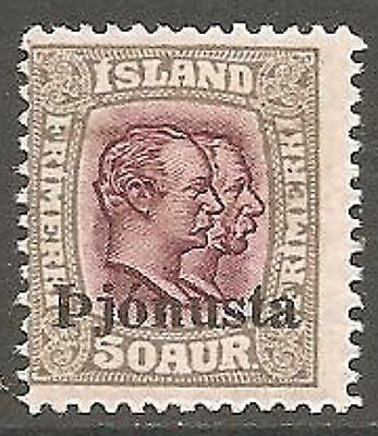 1936 Iceland Official 50a. Claret and Grey SG O222 MH/* (Cat £25)