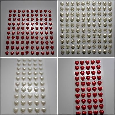 6mm or 10mm Self Adhesive Stick On Pearl Love Hearts in Red or Ivory | Bobityboo