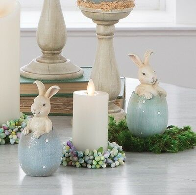 Bunnies in Eggs set of 2 Easter Spring Decoration NEW rzea 3710216 RAZ Imports