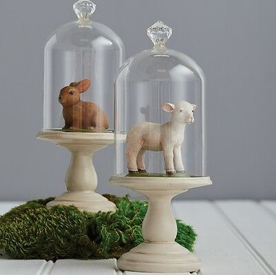 Lamb and Bunny Under Dome Glass 8.5 inches Set 2 rzea 3710270 NEW