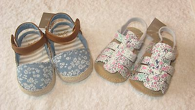 Next 6-12 months Size 2 2x PRAM SHOES *BNWT* New Sandals Leather Baby Girls