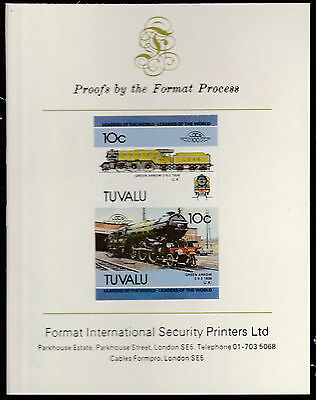 Tuvalu (1581) - 1985 RAILWAYS  imperf on Format International PROOF  CARD